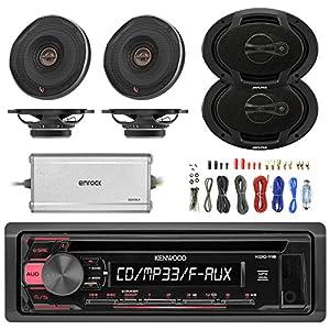 """Sony 55W AM FM CD MP3 Receiver, 4x Infinity Shallow-Mount 6.5"""" 330 Watt Coaxial Car Speakers, 2x Alpine 6x9"""" 400 Watt 3-Way Speaker, Enrock Marine 4-Channel Amplifier, 8 Gauge Complete Amp Install Kit"""