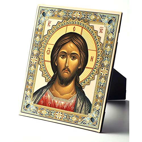 World Faith Russian Icon Christ The Teacher - Embossed Icon Printed On Leather - with Stand and Hook for Hanging On Wall 6 Inch Tall Religious Icon