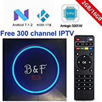 [2018 New Version] KD 17.6 B&F 2G RAM+16G ROM Free 300 channel IPTV UK/CA/USA/Sports Android 7.1.2 TV BOX UHD 4K /64Bit/Amlogic S905W Quad Core
