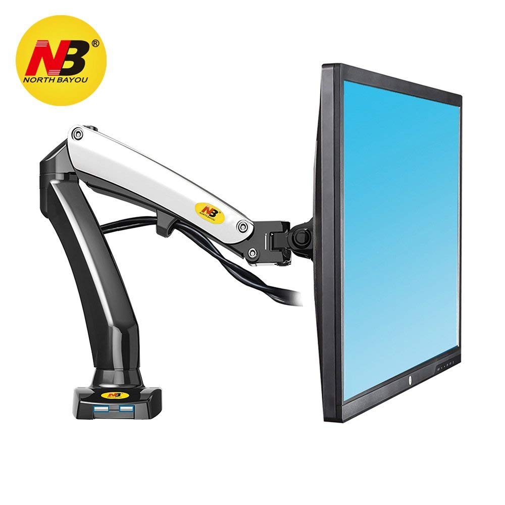 North Bayou Monitor Desk Mount Stand Full Motion Swivel Monitor Arm Gas Spring for 17''-27'' Computer Monitor from 4.4 to 14.3lbs