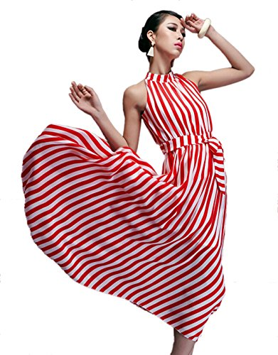 Yacun Women's Elegant Striped Color Block Pleated Maxi Dress