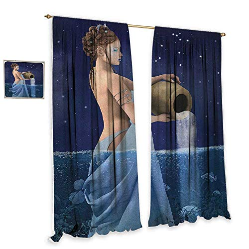 cobeDecor Astrology Blackout Curtains Aquarius Lady with Pail in The Sea Water Signs Saturn Mystry at Night Stars Blackout 55