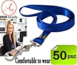 Bulk Lanyard,Blue Lanyards for Id badges, lanyards with clip, Nylon Neck Flat Lanyards with Swivel Hook clips Durably Woven Lanyards 50 pack for Office ID Name Tags and Badge Holders Attachment(Blue)
