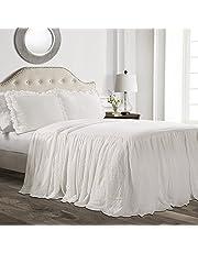 Lush Decor Ruffle Skirt Bedspread, Polyester, White, Queen