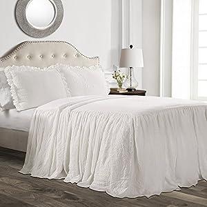 Lush Decor Ruffle Skirt Bedspread White Shabby Chic Farmhouse Style Lightweight 3 Piece Set, Full