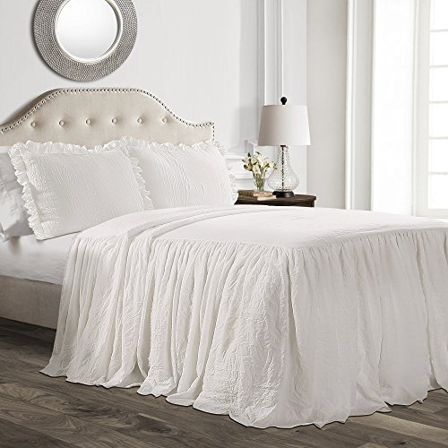 (Lush Décor Ruffle Skirt Bedspread White Shabby Chic Farmhouse Style Lightweight 3 Piece Set, King,)