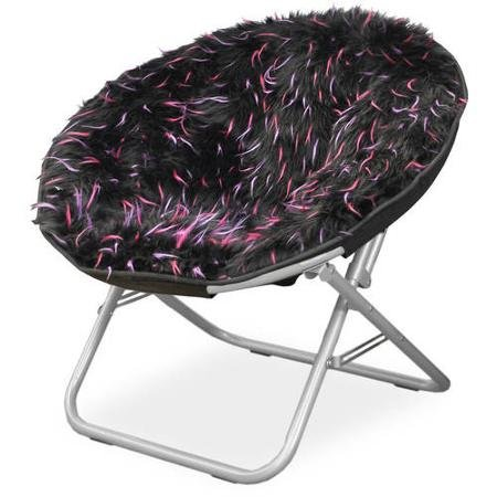 Fluffy Spike Faux Fur Moon Chair Black Chairs