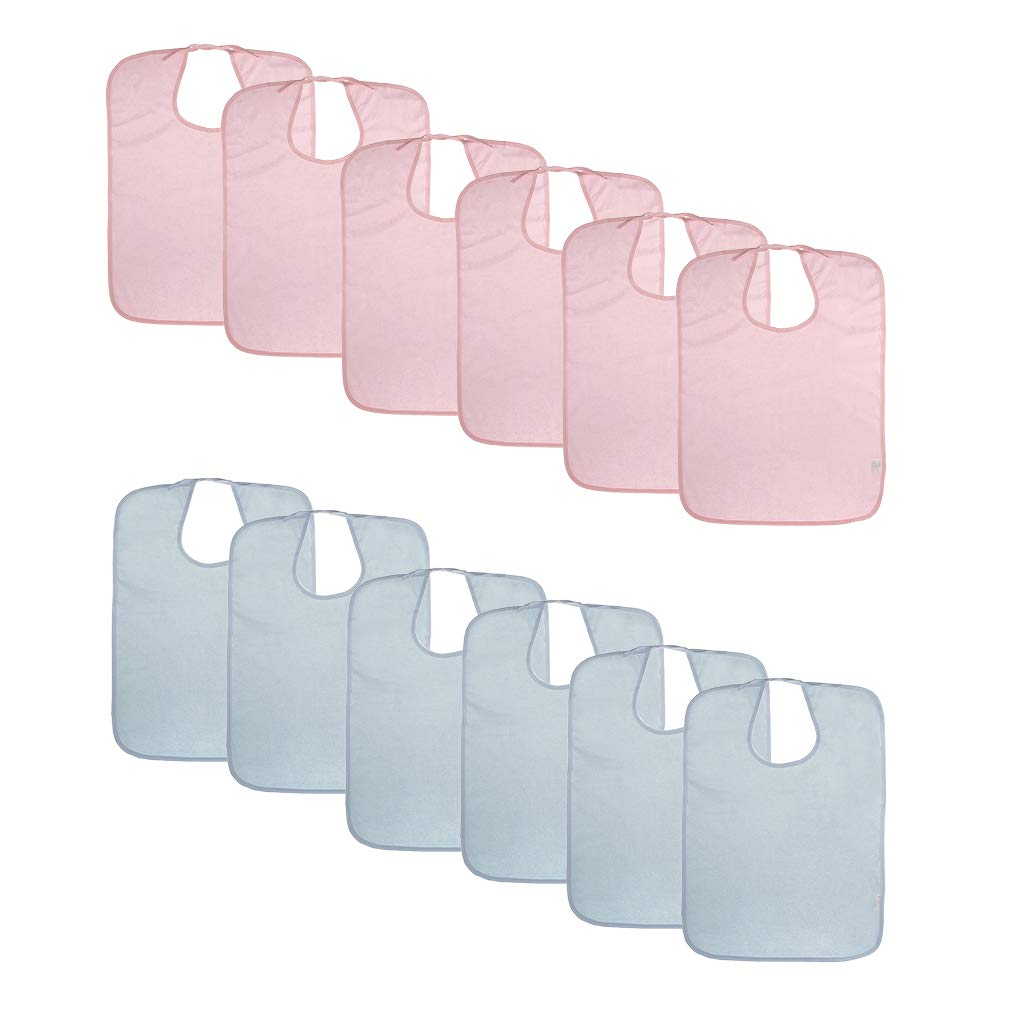 SM SunniMix 12 Pieces Women Men Washable Terry Towel Mealtime Cloth Bib Protector
