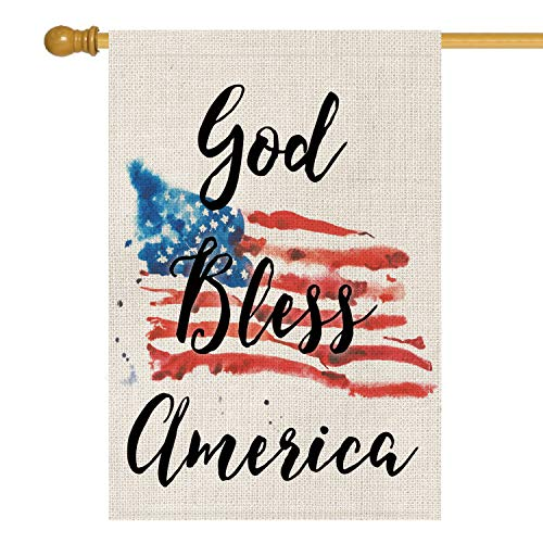 - AVOIN God Bless America 4th of July House Flag Vertical Double Sided Patriotic Strip and Star American Flag, Memorial Day Independence Day Burlap Yard Outdoor Decoration 28 x 40 Inch