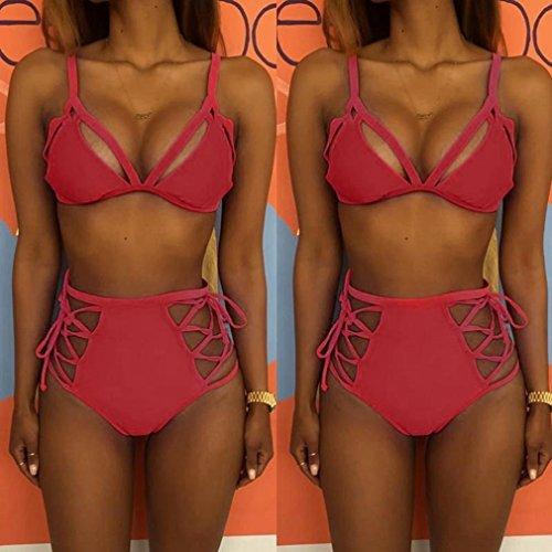 Push up Creux Pastèque Haute Taille Ado Bikini Bain Bandage Rouge Femmes Rembourrés Maillot De 2 Ensemble Pieces Fille Angelof ZqgwxTz6T