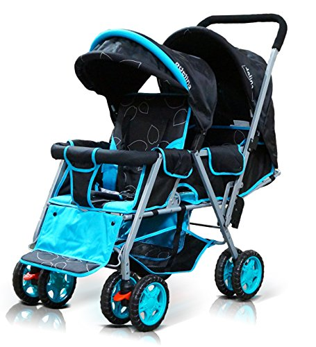 ADELINA Designer Double Stroller, Blue Leaves by ADELINA