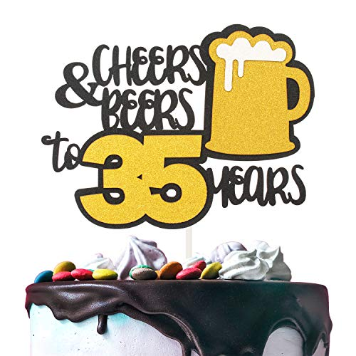 Cheers & Beers to 35 Years Gold Glitter Cake Topper Happy Birthday Wedding Anniversary 35th Party Decoration - 7'' x 8'' Thirty-five Bday Topper.