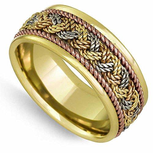18K Tri Color Gold Braided French Braid  - 18k Braid Ring Shopping Results