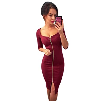12adced660 Sale Bestoppen Women Ladies Evening Party Dress Sexy Long Sleeve Deep V Neck  Slim Fit Zip