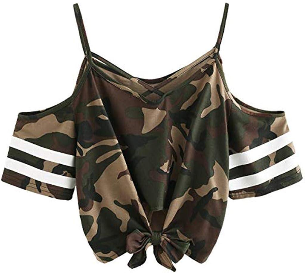 Women Sexy Cold Shoulder Tshirts Stripe Print Fashion Summer Short Sleeve Slim Fit Basic Styllish Breathable Sale Tops