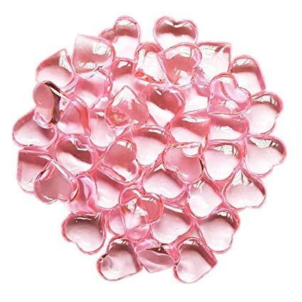Valentine's Day Gifts & Decorations (Heart-Shaped Plastic Gems) Acrylic Hearts for Vase Fillers, Table Scatter, or Decoration PINK]()