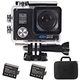 Aokon 4K Slow Motion Underwater Action Camera WiFi 2.0 LCD Ultra HD Video 16MP 170 Wide Angle Lens Dual Screens Waterproof Sports Cam with 2 Batteries Portable Package and Full Accessories Kits