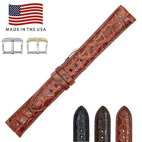 Padded Alligator - 24mm Cognac Genuine Alligator - Padded Stitched - Vintage Millennium - Factory Direct - Smaller Tile Watch Strap Band - Gold & Silver Buckles - Made in The USA by Real Leather Creations FBA1237