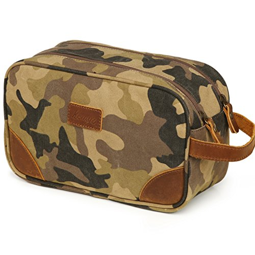 Mens Bathroom Travel Bag Grooming Shaving Bags for Men Dopp Kits Vintage Canvas Leather Dob Kit Toiletry Hygiene Bag Double Zipper Compartments for Traveling Kemy's, Camo, Large, College Student Gift - Zippered Camouflage Travel Bag