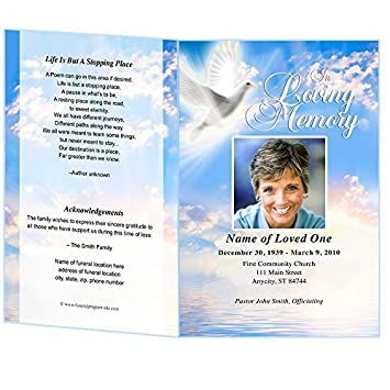 AmazonCom Peace Funeral Program Template Edits In Microsoft