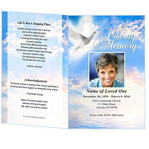 Amazon.com: Peace Funeral Program Template (Edits In Microsoft Word,  Publisher, Apple Pages): Office Products  Funeral Program Template Free