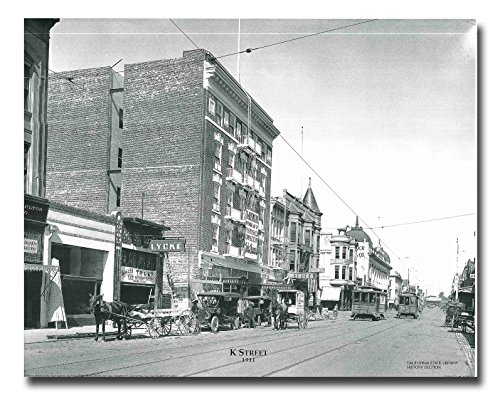 Vintage City Sacramento K Street 1911 Old Model t, Cable Car Black And White Wall Decor Art Print Poster - K Street Sacramento