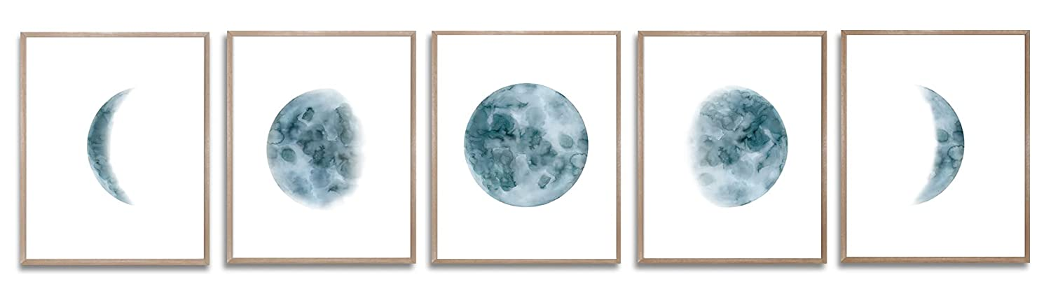 Moon Phase Wall Art Prints, Phase Of The Moon Painting, Blue Moon Art Set Of 5 Print Lunar Moon Poster For Bedroom, Living Room Decoration 8X10 Unframed Print