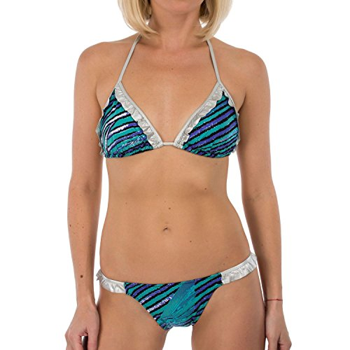 Just Cavalli Women Blue & Metallic Silver Triangle Two Piece Bikini Swimsuit XS