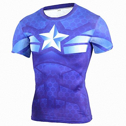 Fitness Compression Shirt Men Anime Superhero Punisher Skull Captain Americ 3D T Shirt Bodybuilding Crossfit tshirt Aisan (Pregnant Superhero Costumes)