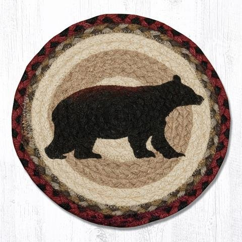10''X10'' Burgundy/Black/Tan/Cream Cabin Bear Round Trivet