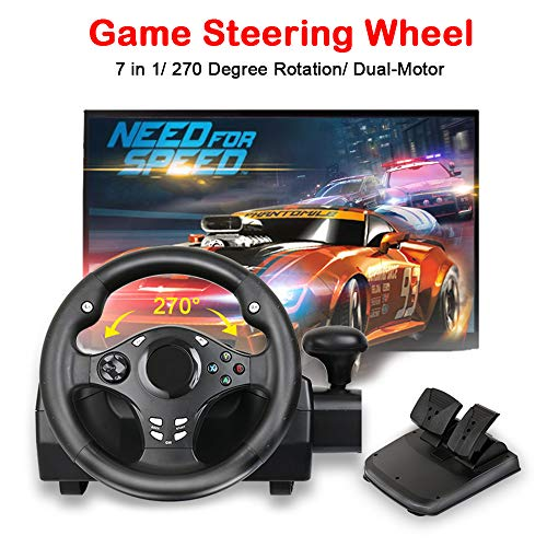 Corsa Steering Wheel - MOSTOP Game Steering Wheel Dual-Motor Sport Racing Wheel 270 Degree Rotation with Pedals Gear for PS3/PS4/XBOX ONE/XBOX 360/NS SWITCH/PC/Android