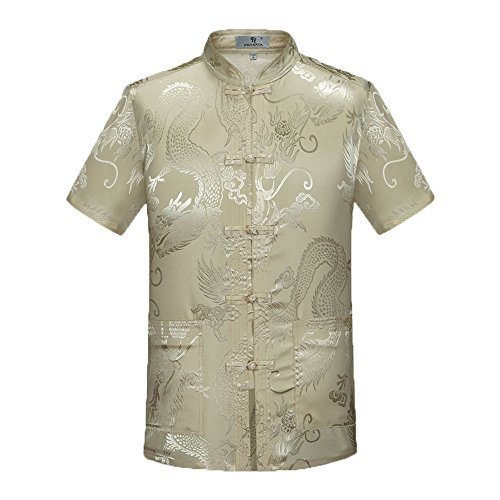 Tang Suit Men Traditional Chinese Clothing Suits Hanfu Cotton Short Sleeve Shirt Coat Mens Tops ()