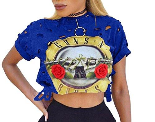 FISACE Womens Short Sleeve Ripped Guns N Rose Crop Tops