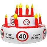 """Aufblasbare Geburtstagstorte """"40"""", kann auch als Hut genutzt werden"""