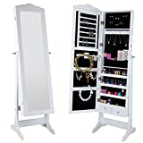Lifewit Lockable Jewelry Cabinet With Stand, Full Length Mirrored Adjustable Bedroom Armoire, Spacious Makeup Organizer, White