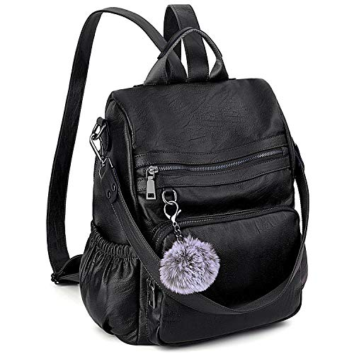 Anti-Theft Convertible Backpack Purse for Women UTO 3 Ways Rucksack PU Leather Shoulder Bag Black - Large Purse Designer Shopper