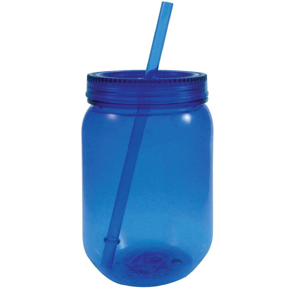 c27ea5ca1c15 Mason Jar Plastic Neon with Lid and Straw 24 oz (Pink)