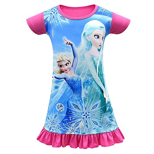 Mukola Girls Pajama Elsa Princess Dress Snow Queen Short Sleeve Nightgown]()