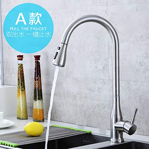 Section a Stainless Steel Hot and Cold Water Pumping Faucet Brushed redatable Kitchen Sink Dish Basin with Tube Faucet A