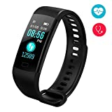 Fitness Tracker,Color Screen Activity Tracker Watch with Heart Rate Monitor, Blood Presure Waterproof IP67 Wristband,Sleep Monitor Call Reminder Waterproof Smart Watch for Men Women Kids (Black)