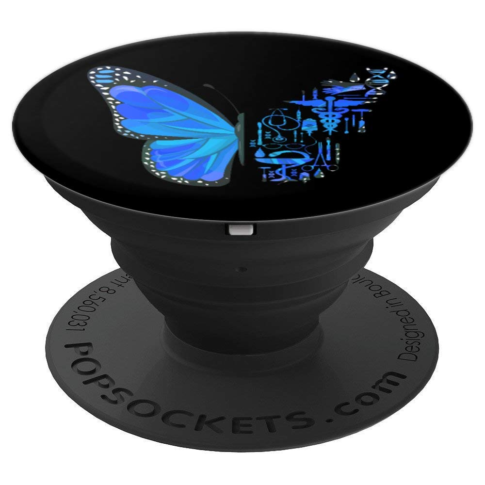 Surgeon Surgical Scrub Tech Surgery Butterfly Resident - PopSockets Grip and Stand for Phones and Tablets by Surgery Tees by K