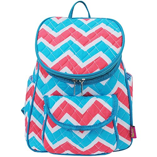 Quilted Colorful Aqua & Coral Chevron Print Mini Back Pack