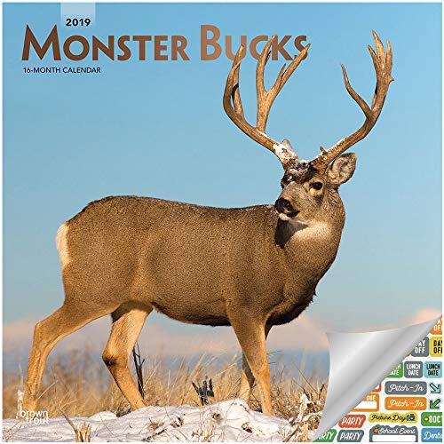 Monster Bucks Calendar 2019 Set -- Deluxe 2019 Big Buck Deer Wall Calendar with Over 100 Calendar Stickers (Deer Lover and Hunter Office Decor)