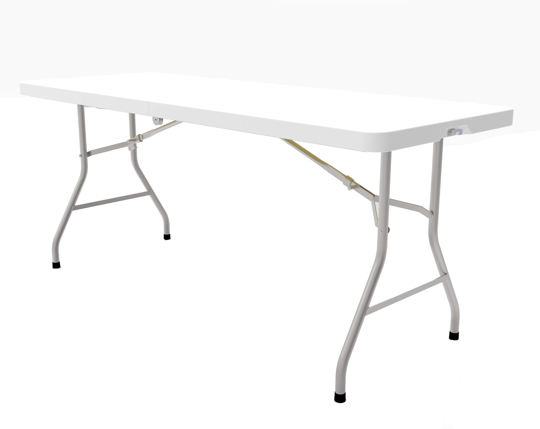 8 Foot Plastic Folding Table - Folds in Half with Carrying Handle - Rectangular - Lightweight and Portable - White Resin with Sturdy Steel Frame - 30''x 96'' - by Ontario Furniture by Ontario Furniture