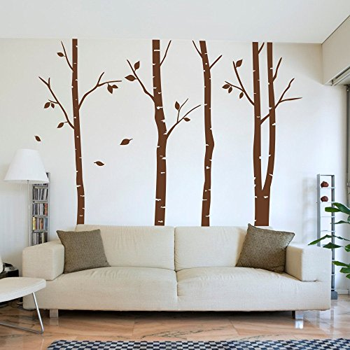 MairGwall Birch Tree & Leaves Wall Decals Removable Art Decor Wall Mural Stickers for Bedroom Living Room (Brown, Large) (Tree Birch Brown)
