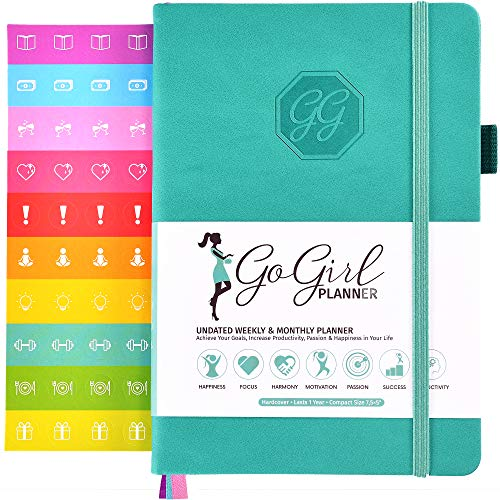 GoGirl Planner and Organizer for Women - Pocket Size Weekly Planner, Goals Journal & Agenda to Improve Time Management, Productivity & Live Happier. Undated - Start Anytime, Lasts 1 Year - Turquoise ()