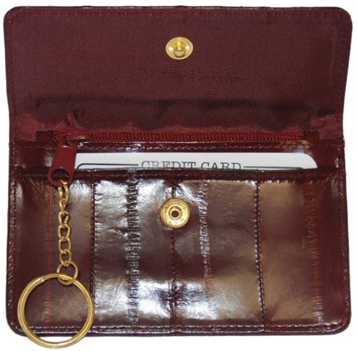 Eel Purse Skin (Genuine Eel Skin Leather Womens Coin Change Purse Wallet (Burgundy))