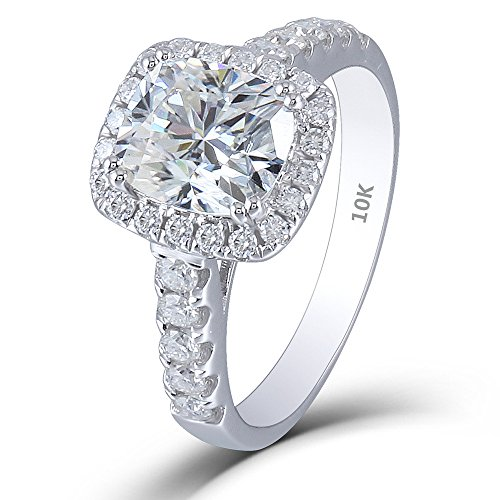Cushion Cut Men Ring (DOVEGGS 10K White Gold 2.55 CTW 7X8mm H color Cushion Cut Halo Moissanite Enagement Ring Solitare with Accents (7))