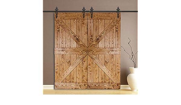 Homacer - Kit de herramientas para puerta corredera de granero estándar de doble puerta, 5 pies de riel plano de diseño real, negro rústico resistente para uso interior y exterior: Amazon.es: Bricolaje