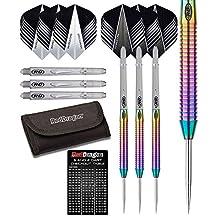 Red Dragon Razor Edge Rainbow 85% Tungsten Steel Darts with Flights, Shafts, Wallet & Red Dragon Checkout Card